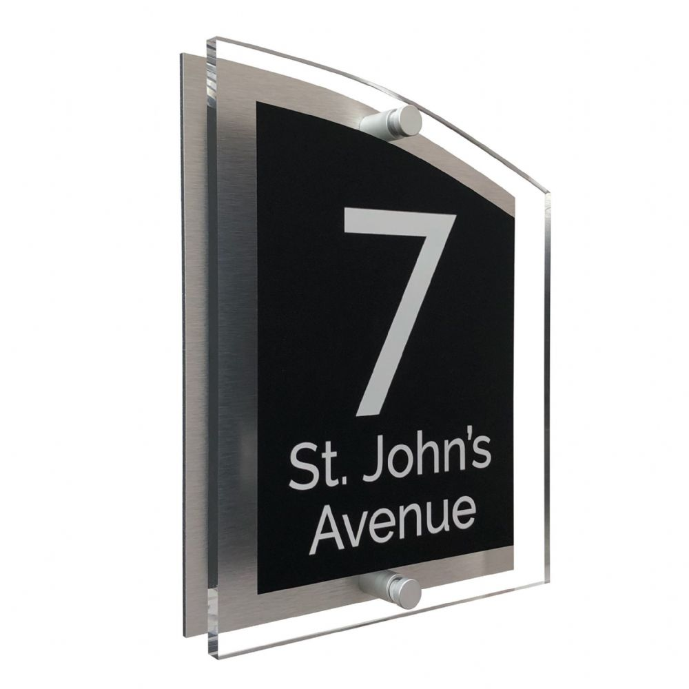 Arc Shape - Clear Acrylic House Sign - Black Colour with White text in Font  4